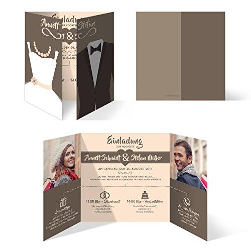 Hochzeitseinladungen (10 Stück) - Braut und Bräutigam Altarfalz - Hochzeitskarten in Braun