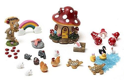 Secretrain 33Pcs Miniature Fairy Garden Ornament DIY Dollhouse Kit