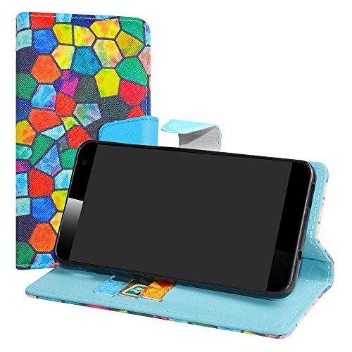 LiuShan Vodafone Smart Platinum 7 Hülle, Brieftasche Handyhülle Schutzhülle PU Leder mit Kartenfächer und Standfunktion für Vodafone Smart Platinum 7 Smartphone,Stained Glass