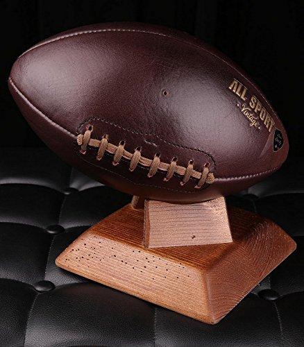 Balón de fútbol americano.–Soporte cuadrado madera maciza Oscuro