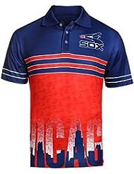 "Chicago White Sox MLB ""Wordmark Skyline"" Men's Retro Sublimated Polo Shirt Chemise"