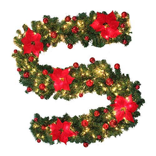 LoveStory_eu Ghirlanda Natalizia Verde con luci,270cm,Alimentazione a Batteria (Rosso con luci)