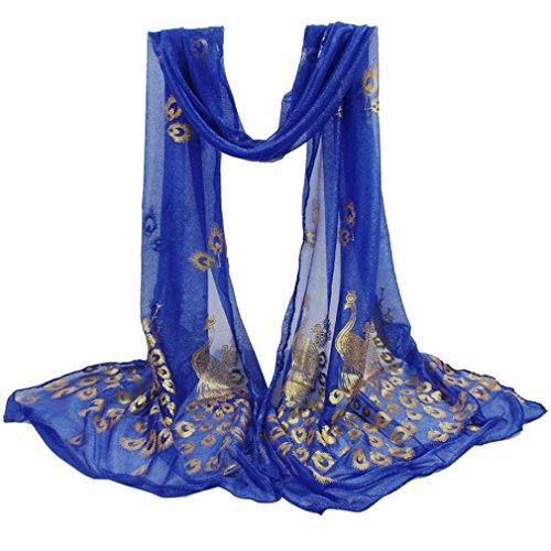 Italily donne pavone multicolore fiore sciarpa lunga morbida wrap shawl stole pashmina elegante spiaggia vacanza sciarpa stole primavera estate 2018 sciarpe feste scialli spiaggia (blu)