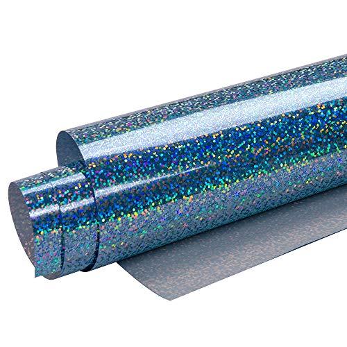 HOHO Holographisches Laser Wärmeübertragung Vinyl glänzend Farbe HTV Drücken Druck, Papier, Folie, Tshirt DIY Stoffe 50cmx60cm himmelblau