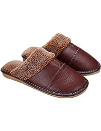 Gosear Zapatillas de Estar por Casa para Hombre Marrón