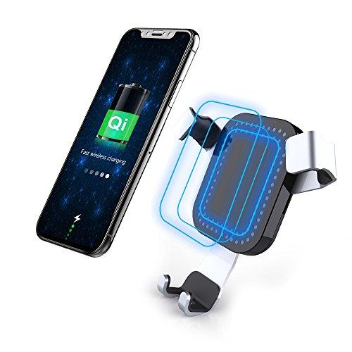Qi Schnellladegerät Auto Drahtloses Ladegerät, MORE FINE 2 in 1 KFZ Halterung und Induktive Schnellladegerät, Kabelloses Schnellladestation Air Vent Auto Halterung Halter Geeignet für iPhone X / iPhone 8 / 8 Plus, Samsung Galaxy S9 / S9 Plus / S8 / S8 Plus / S7 / S7 Edge / S6 / S6 Edge Plus und alle Qi-Fähigen Geräte (Schwarz) (Auto-telefon-vent Halter Lg G3)