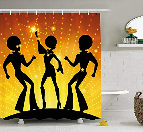 tgyew Party Shower Curtain, Dancing People in Disco Night Club with Afro Hair Style Bokeh Backdrop, Fabric Bathroom Decor Set with Hooks, 72x72 inches, Orange Yellow Black (152 Club Halloween-party)