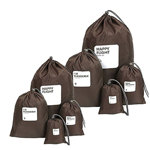 Schrank Organizer Kit (Amoyie 8 teilig Reisetaschen Set Wasserdichte Nylon Organizer Tasche Beutel Organisatoren mit Tunnelzug Aufbewahrungsbeutel Flachbeutel Packtasche für Schlüssel Mobiltelefone Kleidung - 4 verschiedene Größen (Kaffee, 8 teilig))