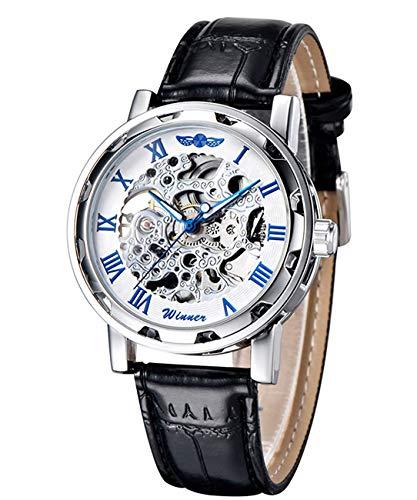 Reloj de pulsera con fondo blanco y centro transparente