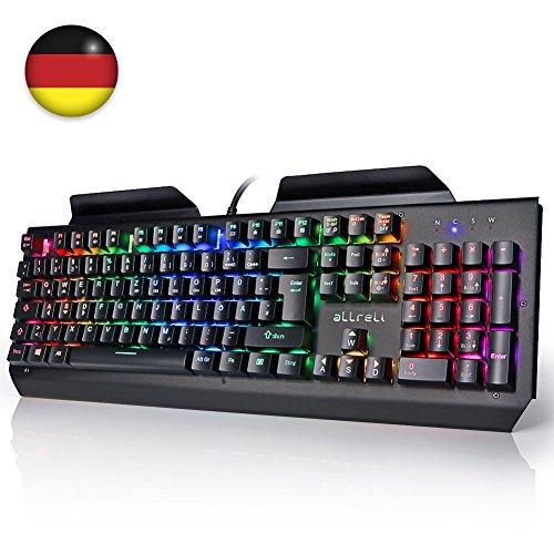 Deutsch Mechanische Gaming Tastatur, aLLreLi K643 RGB-Beleuchtung Gamer Tastatur (Deutsches QWERTZ Layout) Schwarz