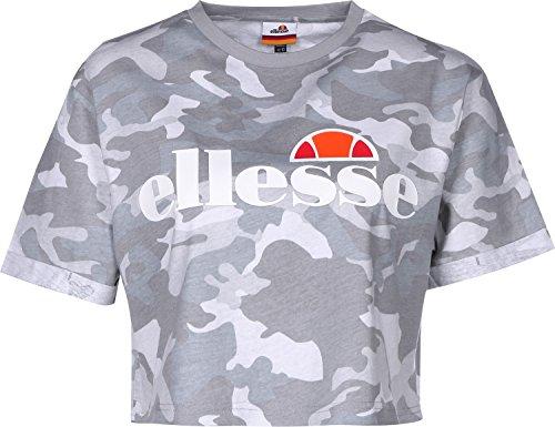 Camo Damen T-shirt (Top Ellesse Alberta Crop Größe: S Farbe: grey camo)
