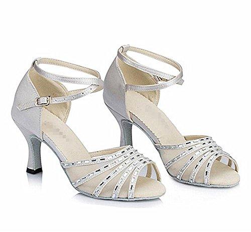 Sandalias Byjia Mujer Salsa Latina Samba Salón Tango Zapatos De Tacón Alto Diamante Satinado Zapatos De Gamuza Suelas Blandas Hebillas Zapatos De Baile Blanco Plata D