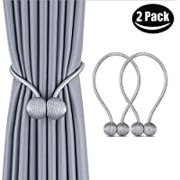 1 Pair Magnetic Curtain Tiebacks Decorative Rope Holdback Holder for Home Kitchen Office Window Sheer Blackout Drapes Gray