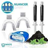 Kit blanchiment dentaire White First - Kit blanchissement dentaire avec 20ml de gel blanchiment au charbon parfum menthe poivré