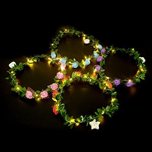 LED Blume Haarband schönen Rosen Glowing Blumenkranz für -