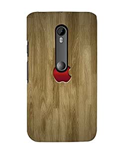 Citydreamz Red Apple Logo/Brown Wooden Finish Hard Polycarbonate Designer Back Case Cover For Motorola Moto X Play (Moto XP)
