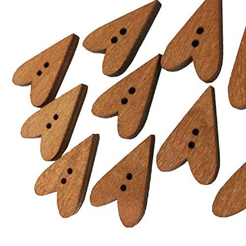 HeiHy 100 Stück 2 Löchern Herz Förmig Holzknöpfe Nähen Knöpfe für DIY Handwerk