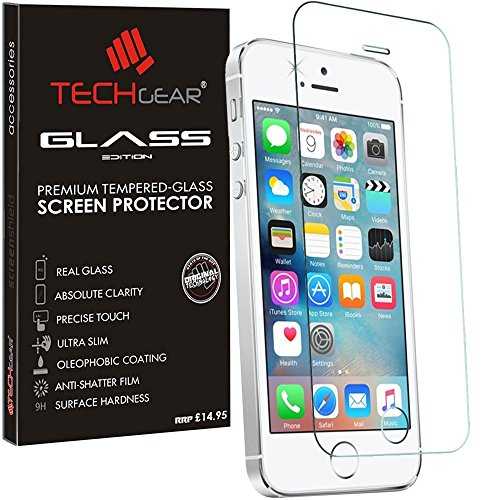 TECHGEAR® Apple iPhone 5s / 5c / 5 / SE GLASS Edition Genuine Tempered Glass Screen Protector Guard Cover (iPhone SE/5s/5c/5)