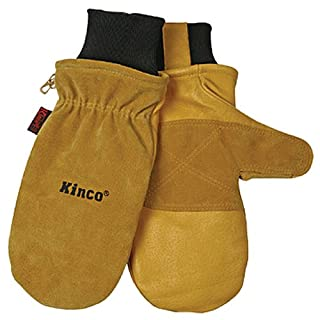 KINCO 901T-M Men's Pigskin Skin Gloves, Mittens, Heat Keep Thermal Lining, Draylon Thread, Medium, Golden