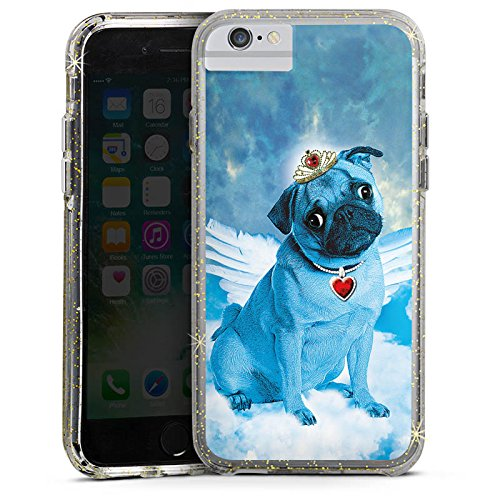 Apple iPhone 7 Plus Bumper Hülle Bumper Case Glitzer Hülle Mops Blue Angel Chien Hund Bumper Case Glitzer gold