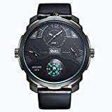 QY OULM Men ' S Quartz Watch Tre Movimenti Bussola Comode Orologi in Pelle Cinturino in Pelle Quadrante Orologio da Polso,Black