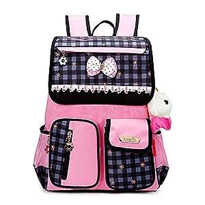 EssVita Kid Child Princess Style School Bags Backpack Waterproof Grils School Rucksack for Primary Students (Style A Pink+Black)