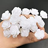 HugeDE 20 Stück Weiße Rosenblume Haarklammer Haarspange Haarschmuck Haarnadeln Brauthaarschmuck