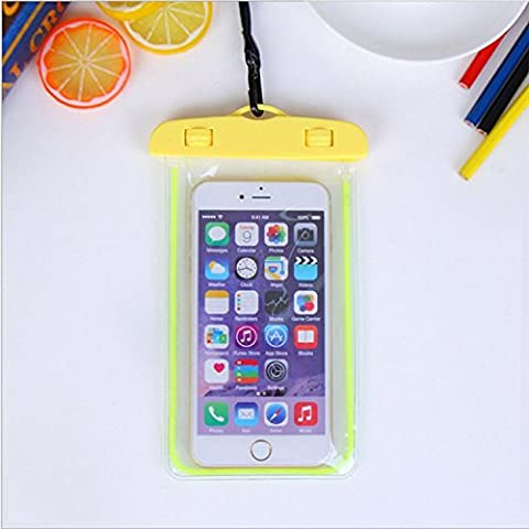 For Imperméable Phone Case,Maetek PVC Lumineux Case Cover Imperméable Cell Phone Sac à sac sec for Smartphone up to 6 inches-Yellow