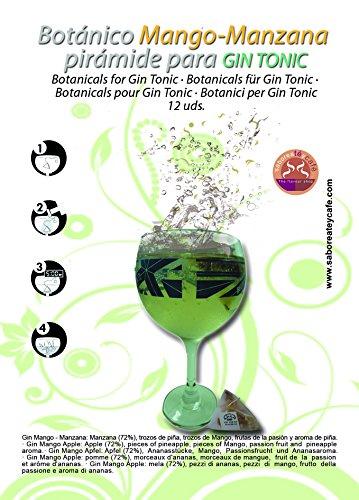 Botánicos Manzana Mango en diseño pirámide para aromatizar tu gin-tonic. 12 uds fácil uso. Se pone la copa, se vierte la ginebra, unos minutos, se retira, hielo, tónica y un sabor aromatizado único.