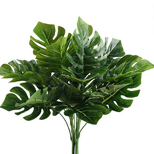 MIHOUNION 2pcs Palmenblätter Künstlich Tropische Blätter Grün Deko  Künstliche Grünpflanze Seide Künstliche Pflanzen Für Topf Hawaii  JungleTheme Party ...
