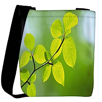 Snoogg Green Leaves Plants Designer Womens Carry Around Cross Body Tote Handbag Sling Bags