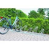 EUROKRAFT Fahrradständer - Edelstahl, Radeinstellung einseitig - 2 Stellplätze - Bügelparker Einzelständer Radständer