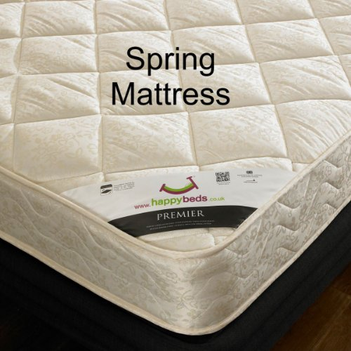 Happy Beds Jessica Guest Bed Wooden Stone White 2x Luxury Spring Mattress 3' Single 90 x 190 cm