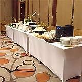 UKMASTER Biertischhusse Tischhusse Stretch Tischdecke 240x60x60 cm für Tisch Dekoration (Weiß) - 7