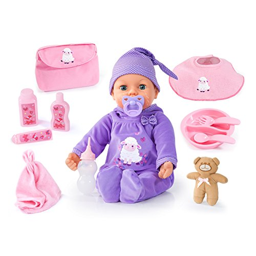 Bayer Design - Muñeca bebé que llora, Piccolina Real Tears, 46 cm, con accesorios, color lila (94697AA)