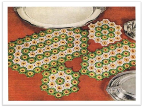 #1918 HOT PLATE AND PLATTER MAT VINTAGE CROCHET PATTERN (English Edition)