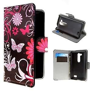 Per LG L Fino (D290N / D295) , ivencase 27 Portafoglio Fiore And Butterfly Stile PU Pelle Shell Buckle Stare Folio Protettivo Skin Cover Per LG L Fino (D290N / D295)