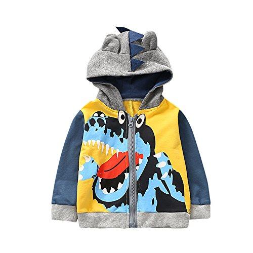 Kleider Kinderbekleidung Honestyi Baby Kind scherzt Jungen Mädchen Karikatur Tier mit Kapuze Mantel Mantel Oberseiten warme Kleidung (Gelb,90)