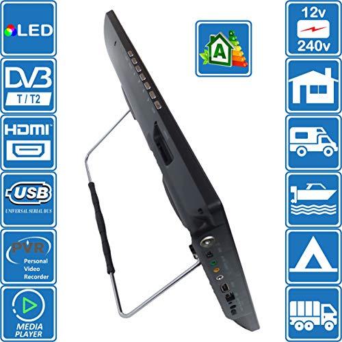 51qbwuMofpL - Autocaravana Caravana Barco Cocina 12 voltios 14 Pulgadas LED TV Digital HD DVB-T2. TDT y Toda la televisión de Europa. 12V 230V USB PVR y Reproductor Multimedia, Monitor CCTV HDMI de Unispectra®
