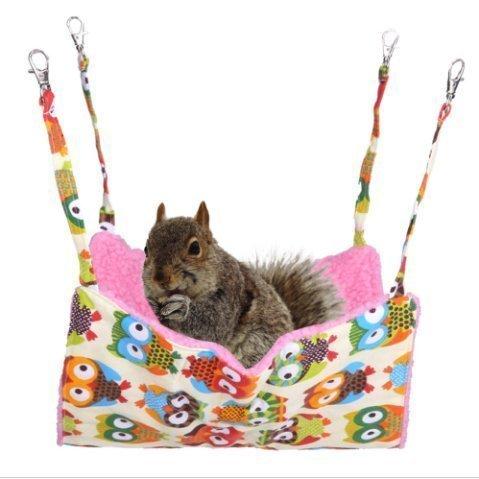 URChic Große Größe 45x35cm Eule Gedruckt Weiche hängende Plüsch Hängematte Dual-seitig mit Bett für Katzen Hamster Eichhörnchen Kaschmir Kleine Tierbett Matten Hanging Cage Toy Pet Katze Produkte (Besten Etagenbett)