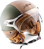 Soxon® SP-325 Urban Jet-Helm,ECE Visier Leder-Design,Grün(Green),M (57-58cm)
