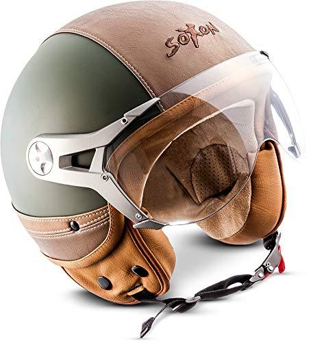 SOXON SP-325-URBAN Green · Roller-Helm Chopper Helmet Scooter-Helm Motorrad-Helm Pilot Vintage Vespa-Helm Cruiser Jet-Helm Bobber Biker Mofa Retro · ECE zertifiziert · Leder Design · mit Visier · inkl. Stofftragetasche · Grün · L (59-60cm) (Agv Grün Helm)