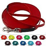 LENNIE Leichte BioThane Schleppleine, 9mm, Hunde 5-15kg, 5m lang, mit Handschlaufe, Rot, genäht