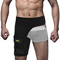 Yosoo Groin Support - Banda ajustable de neopreno para muslo, banda de compresión para recuperación, apoyo de lesiones para hombres y mujeres, negro