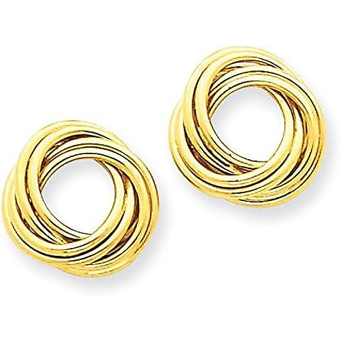 14K oro lucido orecchini nodo d' amore–Misure 16x 16mm