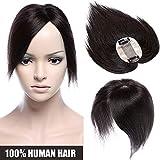 Extensiones de Cabello Natural Clip [Hand-Tied Silk Top Base: 6 * 9cm] Prótesis Capilares Mujer (Densidad:120%) 6'/15cm [ #1B Negro Natural ] 100% Remy Hair