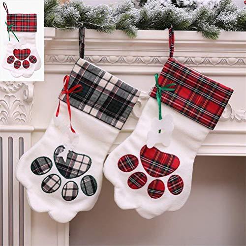 (Favson Hundepfoten-Weihnachtsstrumpf, Bestickt, kariert, Welpen, Pfotenabdruckmotiv, für Weihnachten, Party, Kamin, Dekoration, personalisierbar (2 Stück))