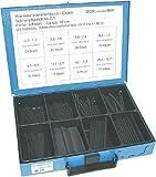 Wärmeschrumpfschlauchenden / Schrumpfrate 2:1 | Länge: 10cm, schwarz | im Blechkasten | 8-fach | 135 Wärmeschrumpfschlauchenden sortiert