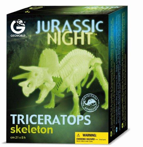 Imagen principal de Geoworld Jurassic Night 23210759 Triceratops - Esqueleto de dinosaurio (brilla en la oscuridad, 21 cm)