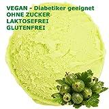 1 Kg Stachelbeer Geschmack Eispulver VEGAN - OHNE ZUCKER - LAKTOSEFREI - GLUTENFREI - FETTARM, auch für Diabetiker Milcheis Softeispulver Speiseeispulver Gino Gelati